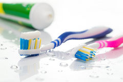 Toothbrushes and toothpaste Stock Image