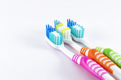 Toothbrushes on white background. Daily oral hygiene - toothbrushes  on white background Royalty Free Stock Image