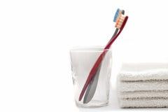 Toothbrushs in einem Glas Stockbild