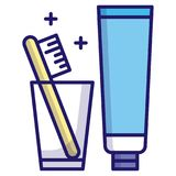 Toothbursh vector LineColor royalty free illustration