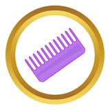 Toothed comb vector icon. In golden circle, cartoon style isolated on white background Stock Photo