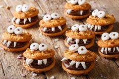 Toothed monsters of cookies close-up for Halloween. horizontal Stock Photography