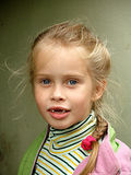 The toothless child. Girl, portrait, shaggy, face, mouth Royalty Free Stock Photography