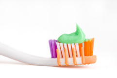 Toothpaste and brush Royalty Free Stock Photo