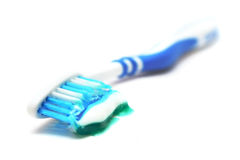 Toothpaste On Brush Stock Photo