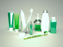 Toothpaste, brush, soap, balm, tooth thread. Stock Photography