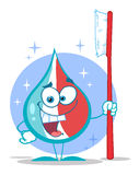 Toothpaste cartoon character holding a toothbrush Royalty Free Stock Image
