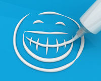 Toothpaste drawing smiley Royalty Free Stock Photography