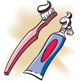Toothpaste. An Illustration of a Toothbrush and Toothpaste tube stock illustration