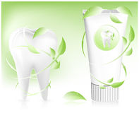 Toothpaste with leaves. Stock Image