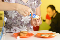 Toothpaste sandwich biscuits prank. April fools day prank, do the sandwich cookies with toothpaste Royalty Free Stock Images