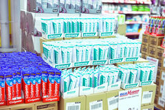 Toothpaste on the supermarket shelves Stock Image