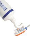 Toothpaste and a toothbrush Royalty Free Stock Photography