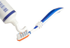 Toothpaste and toothbrush Royalty Free Stock Image