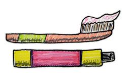 Toothpaste and toothbrush clip art Stock Image