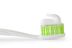 Toothpaste on the toothbrush. Closeup. Stock Image