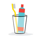 Toothpaste And Toothbrush In The Glass Royalty Free Stock Photo