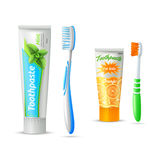 Toothpaste And Toothbrush For Kids And Adults Royalty Free Stock Photography