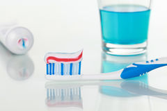 Toothpaste and rinse Royalty Free Stock Image