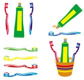 Toothpaste and toothbrush vectors set Stock Images