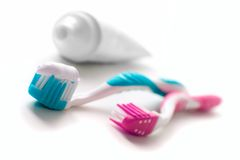 Toothpaste and toothbrushes Royalty Free Stock Photography