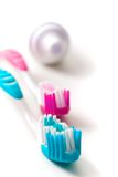 Toothpaste and toothbrushes Royalty Free Stock Photo
