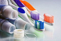 Toothpaste, Toothbrushes & Floss Royalty Free Stock Image