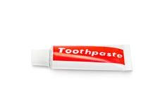 Toothpasterör som isoleras på vitbakgrund royaltyfri bild
