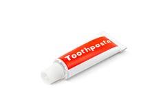 Toothpasterör som isoleras på vitbakgrund arkivfoto