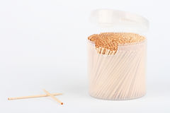 Toothpick. These are some wooden toothpicks royalty free stock image