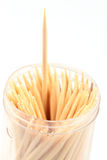 Toothpick. A toothpick being taken out of a package with many. Very shallow DOF, focus at the top of the toothpick Royalty Free Stock Images