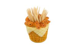 Toothpick holder. Isolated over white Stock Image