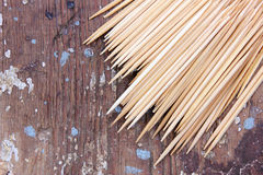 Toothpick. Many toothpick texture on wooden background royalty free stock images