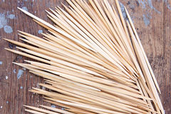 Toothpick. Many toothpick texture on wooden background royalty free stock photography
