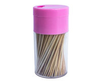 Toothpick. S in the plastic bottle. isolated Stock Photos