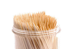 Toothpicks. Set of toothpicks in a plastic jar Stock Photos