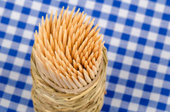 Toothpicks on a blue tablecloth Royalty Free Stock Photography