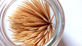 1 - Toothpicks. Toothpicks in bottle on white background Stock Images