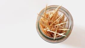 4 - Toothpicks. Toothpicks in bottle on white background Stock Photos