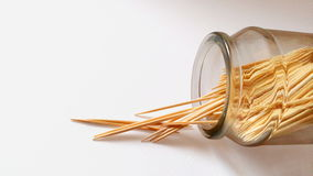 Toothpicks. In bottle on white background Royalty Free Stock Photos