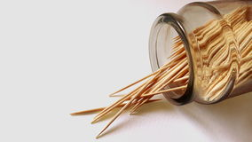 Toothpicks. In bottle on white background Stock Photos