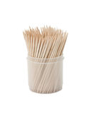 Toothpicks in box. Toothpicks in plastic container. Isolated over white Stock Photography