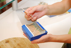 Toothpicks in box Royalty Free Stock Photos