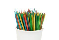 Toothpicks coloreados foto de archivo libre de regalías