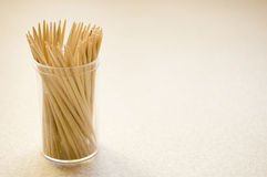 Toothpicks conceptual image. Approximation of many toothpicks in box Royalty Free Stock Photo
