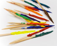 Toothpicks covered in paint. Toothpicks covered in many colors of paint Stock Photography
