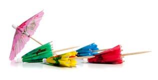 Toothpicks del paraguas de la bebida en blanco fotos de archivo libres de regalías