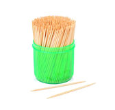Toothpicks in a green box isolated on a white Royalty Free Stock Photos
