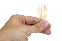 Toothpicks in hand Stock Photos