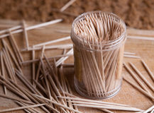 Toothpicks in a plastic container Royalty Free Stock Photo